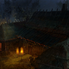 Inn at night concept painting