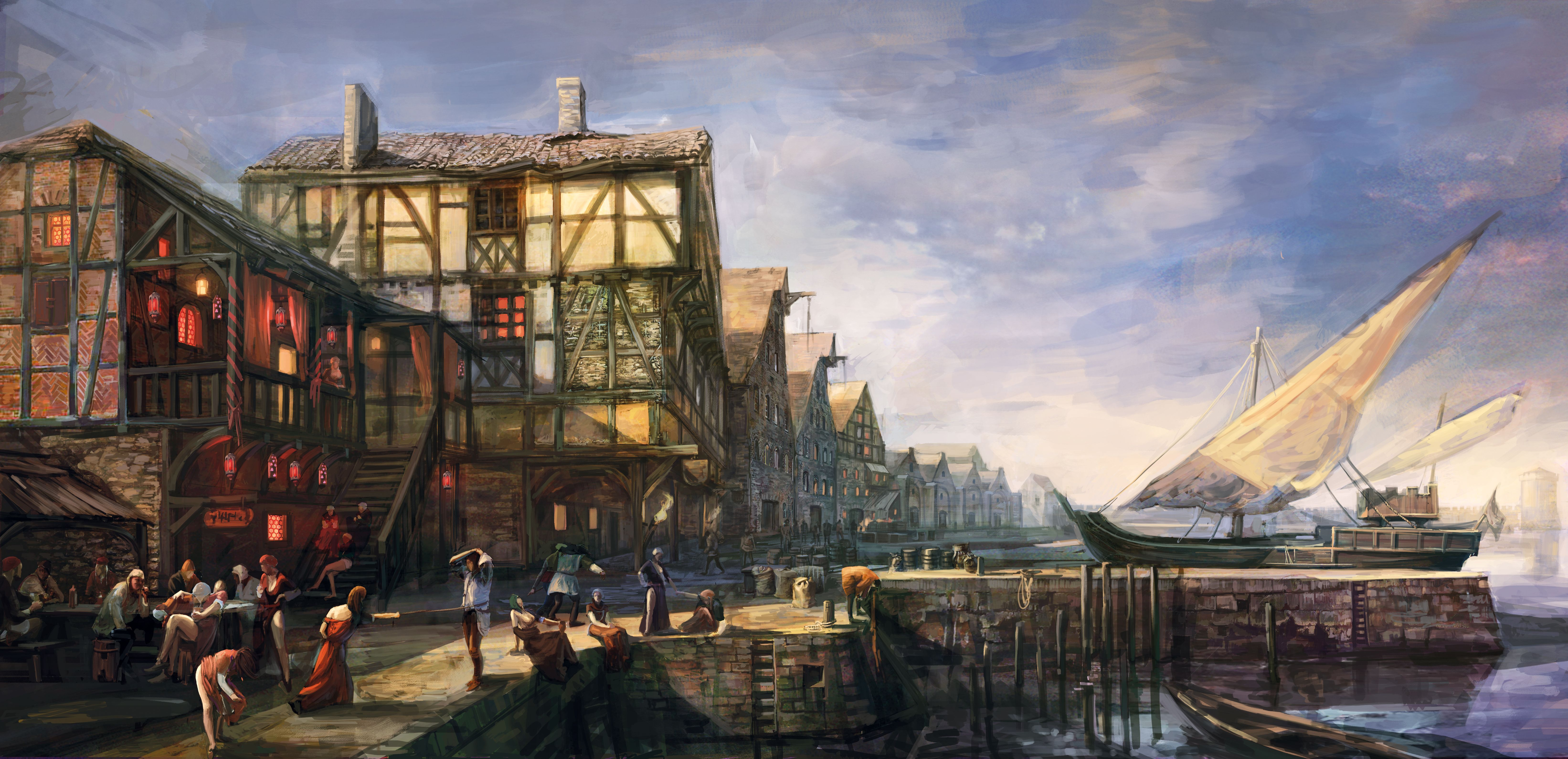 Tw3 concept art Novigrad Seaport