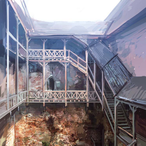 concept art of courtyard