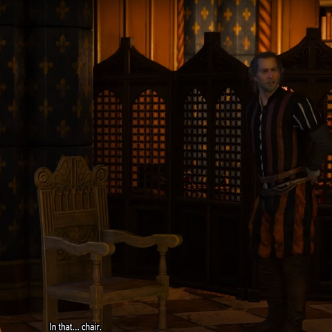 Explaining Geralt what a bergére is (type of chair)