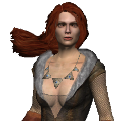 Triss in her battle gear in <i>The Witcher</i>