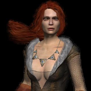 تريس مرتدية زيها القتالي في لعبة الويتشر