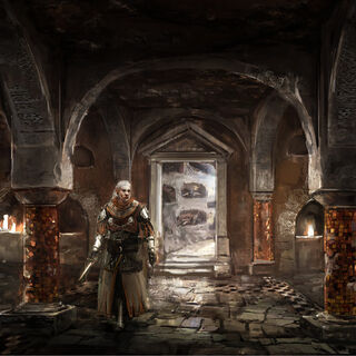 Concept art of catacombs under the Cemetery