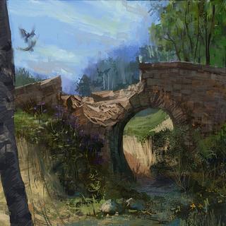 Ponte in rovina vicino ad Acque Oscure - concept art