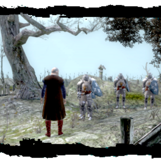 Velerad przed kryptą na cmentarzu niedaleko Starej Wyzimy – screen z gry