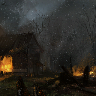 Old Vizima at night concept painting