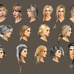 Concept art for Ciri's hair in <i>The Witcher 3</i>