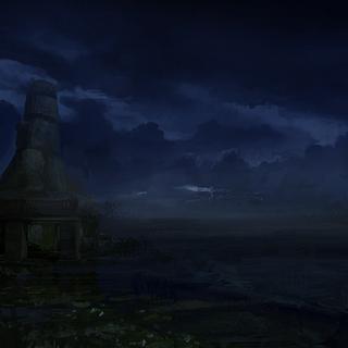 una vista notturna dell'isola
