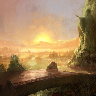 Lakeside by day concept painting