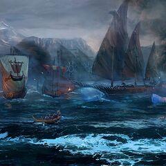 Нагльфар під час битви біля берегів Ундвіка, офіційний арт