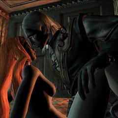 Любовна сцена між Ґеральтом та Аддою у грі «Відьмак».