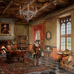 The concept art of aristocrat dwelling in Hauteville, shows the life of the upper class in all its shiny detail.