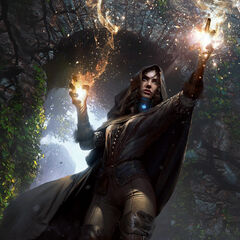 Gwent card art in <i>The Witcher 3</i> and  as <i>Yennefer: Divination</i>