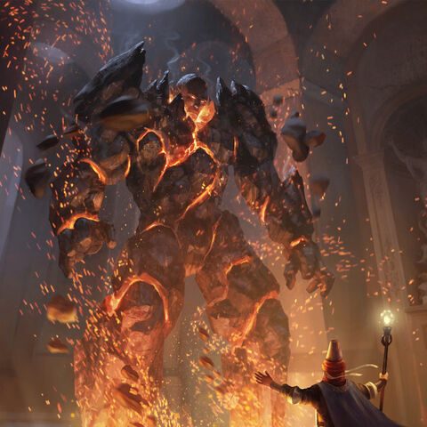 A construnct being animated by a mage through summoning an entity from the Plane of Fire