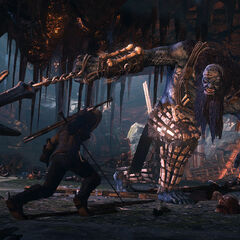 Geralt fighting the Ice Giant, screenshot (demo version).