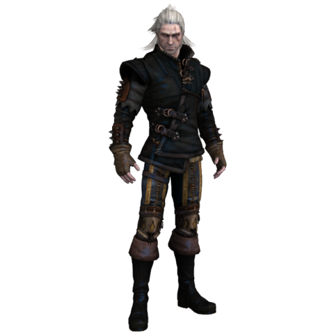 Render of Geralt in armor.