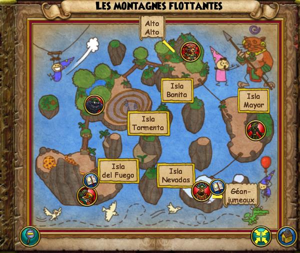 Map montagnes flottantes