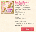 Decision making - set with exclusive item