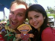 Selena and David DeLuise behind the movie