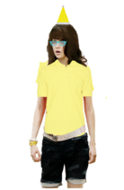 Alex Russo Long Curly Brown Hair Half Up and Half Down Fringe+Bangs wearing a Yellow Santa Claus Hat, and Cyan Glasses wearing a Yellow Polo Shirt, & Black Denim Pants and looks like the Pittsburgh Penguins