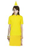 Alex Russo Long Brown Hair with a Clip wearing a Yellow Santa Claus Hat wearing a Yellow Polo Shirt and Yellow Church Skirt