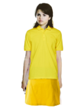 Alex Russo Long Brown Hair with a Clip wearing a Yellow Polo Shirt and Yellow Skirt