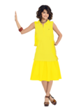 Alex Russo Long Brown Hair wearing a Sleeveless Yellow Polo Shirt and Yellow Skirt