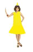 Alex Russo Long Brown Hair wearing a Yellow Santa Claus Hat wearing a Sleeveless Yellow Polo Shirt and Yellow Church Skirt