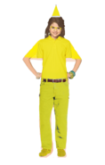 Alex Russo Long Curly Brown Hair Half Up and Half Down wearing a Yellow Santa Claus Hat, and Yellow Glasses wearing a Yellow Polo Shirt, Yellow Jeans with a Belt, and Yellow Shoes turned into a Man