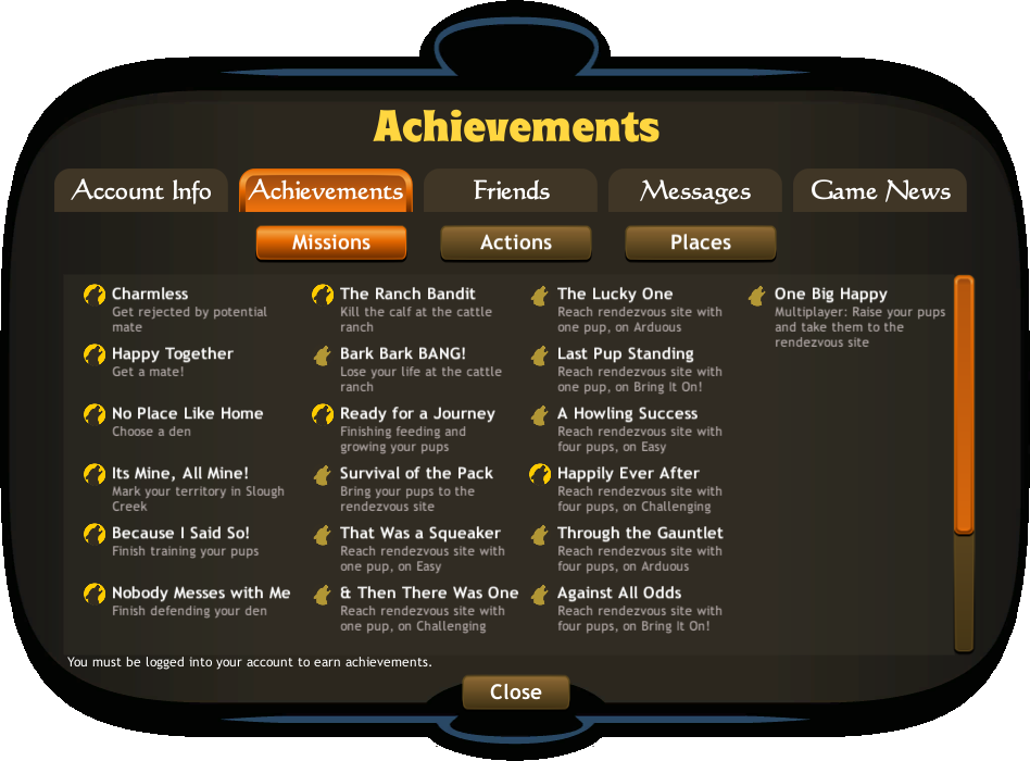 Achievements wolfquest wiki fandom powered by wikia these achievements will trigger over the course of gameplay while progressing through and completing missions ccuart Choice Image