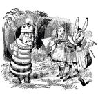 1166647-Retro-Vintage-Black-And-White-Alice-Rabbit-And-King