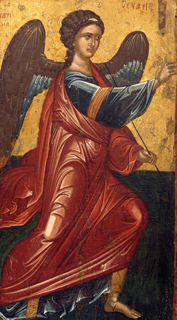 Greek, Late Byzantine - The Archangel Gabriel, from an Annunciation scene on the King's Door of an iconostasis - Google Art Project