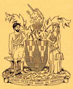 1951 coat of arms drawn by Ellie Pullin (Byers) for WKTN Half Marathon cert
