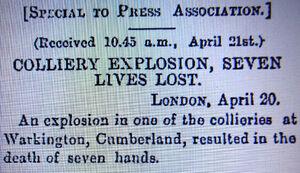 Colliery EXplosion Warkington