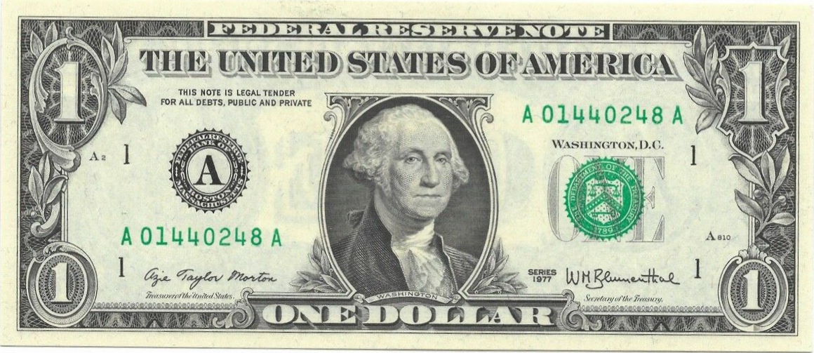 MINNEAPOLIS FEDERAL RESERVE NOTE $1 1963 series I//A