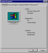 Windows95b properties