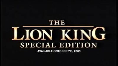 The Lion King Platinum Edition DVD First Trailer (21st January 2003, USA)