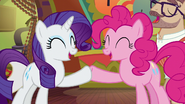 Rarity and Pinkie Pie hoof-bump S6E12