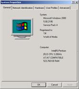 Windows2000 properties