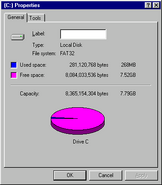 Windows95c diskspace