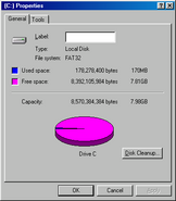 Windows98 diskspace
