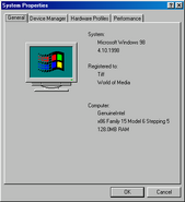 Windows98 properties