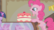 Pinkie Pie about to eat another cake S1E10