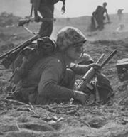 Carbine-equipped Marine on Iwo Jima February 1945