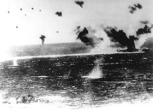 USS Lexington under attack at Coral Sea
