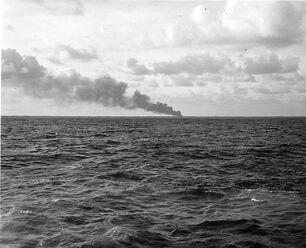 Smoke from Radio Station, Makin 1942