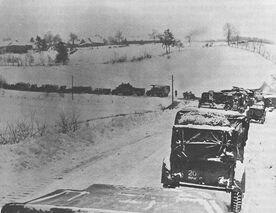 American traffic jam near St. Vith, December 1944