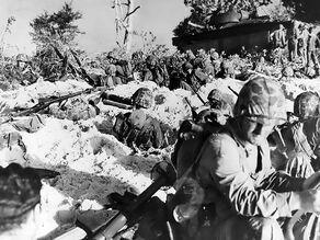 Marines digging in on June 15th, Saipan 1944