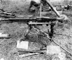 Captured MG 42 on Lafette tripod in the American sector, Normandy 1944