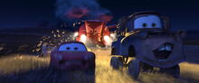 Frank chases McQueen and Mater